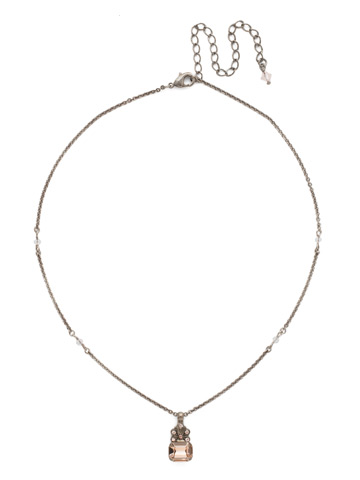 Crowning Glory Pendant Necklace in Antique Silver-tone Satin Blush
