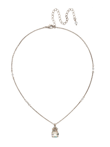 Crowning Glory Pendant Necklace in Antique Silver-tone White Bridal