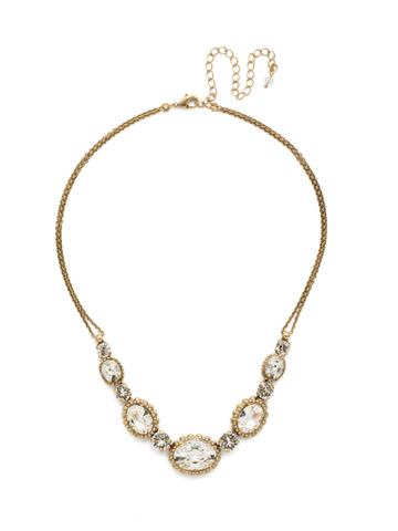Camellia Necklace in Antique Gold-tone Crystal
