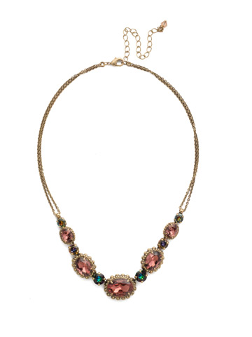 Camellia Necklace in Antique Gold-tone Mahogany