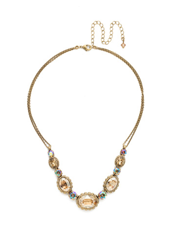 Camellia Necklace in Antique Gold-tone Neutral Territory