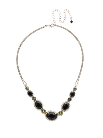Camellia Necklace in Antique Silver-tone Black Onyx