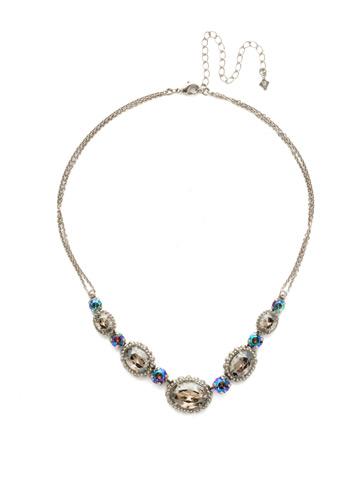 Camellia Necklace in Antique Silver-tone Crystal Rock