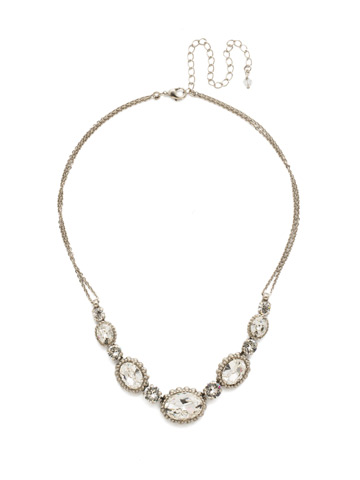 Camellia Necklace in Antique Silver-tone Crystal