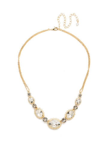 Camellia Necklace in Bright Gold-tone Crystal