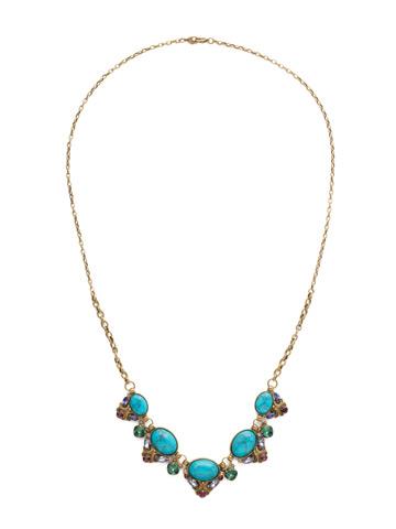 Flora Filigree Necklace in Antique Gold-tone Jewel Tone