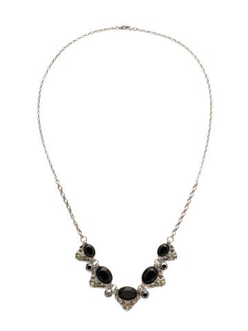 Flora Filigree Necklace in Antique Silver-tone Black Onyx