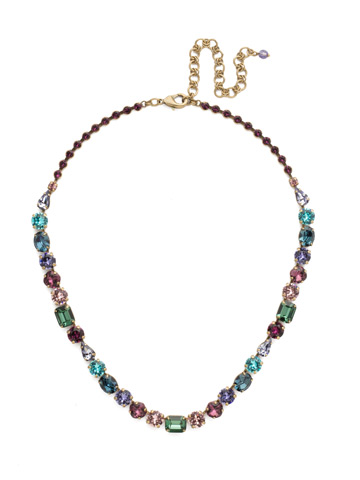 Tansy Line Necklace in Antique Gold-tone Jewel Tone