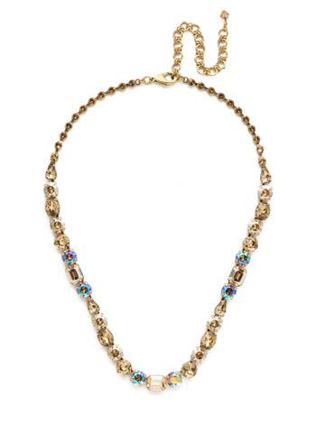 Tansy Line Necklace in Antique Gold-tone Neutral Territory