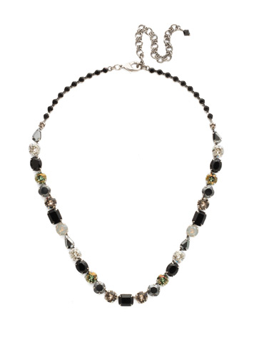 Tansy Line Necklace in Antique Silver-tone Black Onyx