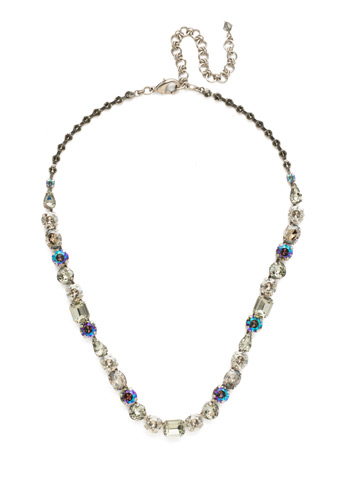 Tansy Line Necklace in Antique Silver-tone Crystal Rock