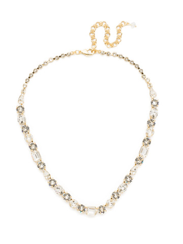 Tansy Line Necklace in Bright Gold-tone Crystal