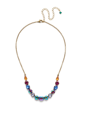 Tansy Half Line Necklace in Antique Gold-tone Game of Jewel Tones
