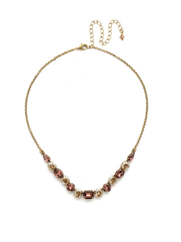 Tansy Half Line Necklace in Antique Gold-tone Mighty Maroon