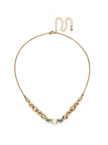 Tansy Half Line Necklace in Antique Gold-tone Neutral Territory