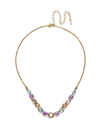 Tansy Half Line Necklace in Antique Gold-tone Washed Waterfront