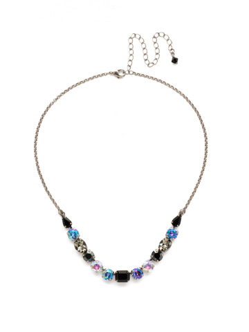 Tansy Half Line Necklace in Antique Silver-tone Black Tie