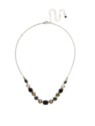 Tansy Half Line Necklace in Antique Silver-tone Black Onyx