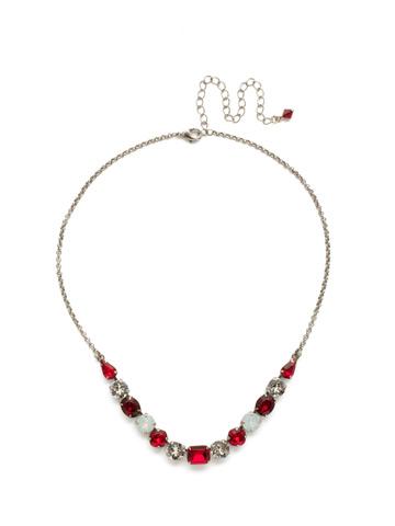 Tansy Half Line Necklace in Antique Silver-tone Crimson Pride