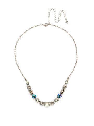 Tansy Half Line Necklace in Antique Silver-tone Crystal Rock