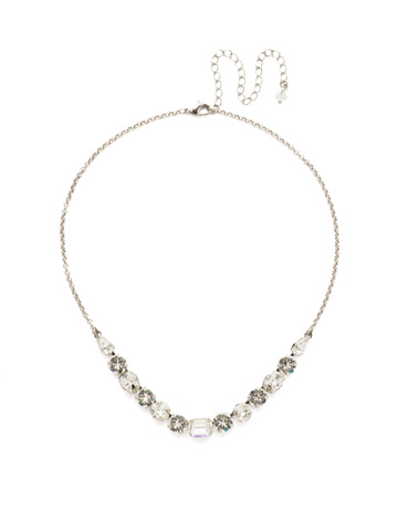 Tansy Half Line Necklace in Antique Silver-tone Crystal