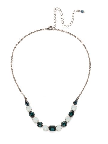 Tansy Half Line Necklace in Antique Silver-tone Glory Blue