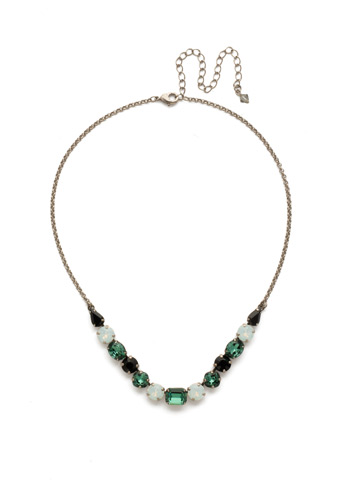Tansy Half Line Necklace in Antique Silver-tone Game Day Green