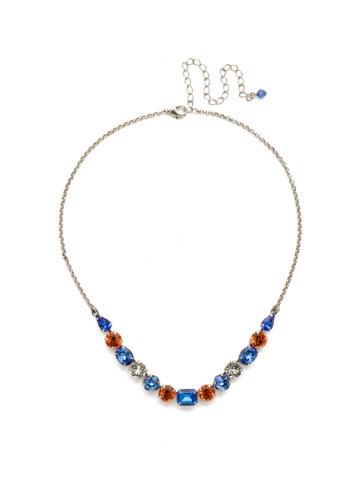 Tansy Half Line Necklace in Antique Silver-tone Orange Crush