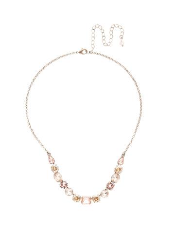 Tansy Half Line Necklace in Antique Silver-tone Satin Blush