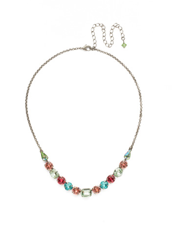 Tansy Half Line Necklace in Antique Silver-tone Vivid Horizons