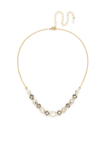 Tansy Half Line Necklace in Bright Gold-tone Crystal