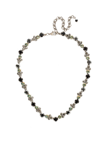 Wisteria Necklace in Antique Silver-tone Black Onyx