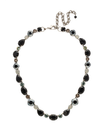 Narcissus Necklace in Antique Silver-tone Black Onyx