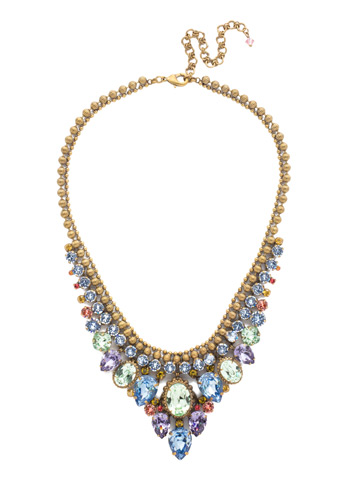 Protea Statement Necklace in Antique Gold-tone Bohemian Bright