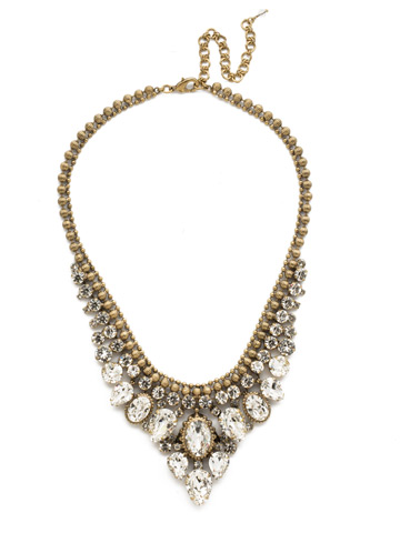 Protea Statement Necklace in Antique Gold-tone Crystal