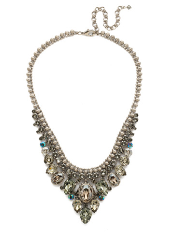 Protea Statement Necklace in Antique Silver-tone Crystal Rock