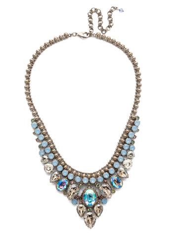 Protea Statement Necklace in Antique Silver-tone Pastel Prep