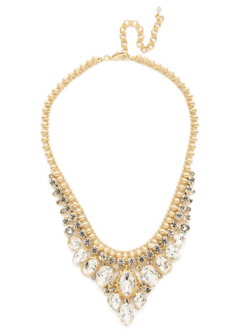 Protea Statement Necklace in Bright Gold-tone Crystal