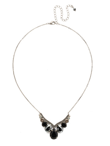 Peared Up Necklace in Antique Silver-tone Black Onyx