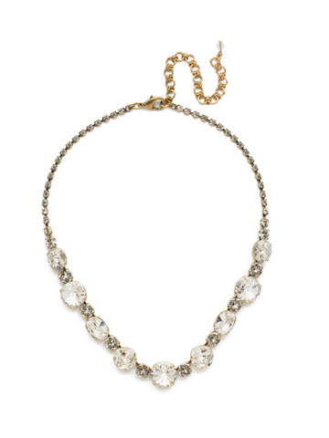 Full Circle Necklace in Antique Gold-tone Crystal