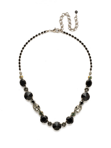 Full Circle Necklace in Antique Silver-tone Black Onyx