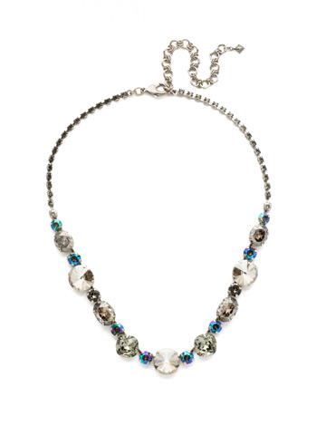 Full Circle Necklace in Antique Silver-tone Crystal Rock