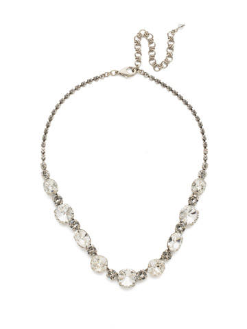 Full Circle Necklace in Antique Silver-tone Crystal