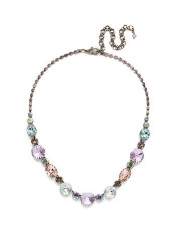 Full Circle Necklace in Antique Silver-tone Lilac Pastel