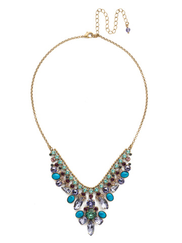 Vervain Statement Necklace in Antique Gold-tone Jewel Tone