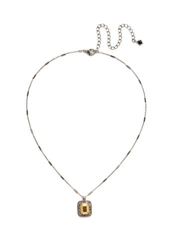 Opulent Octagon Necklace in Antique Silver-tone Heavy Metal