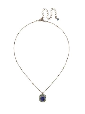Opulent Octagon Necklace in Antique Silver-tone Moonlit Shores