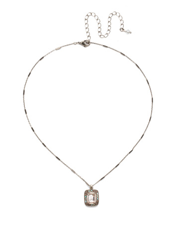 Opulent Octagon Necklace in Antique Silver-tone Silky Clouds
