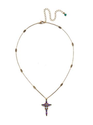 Delicate Sliding Cross Pendant Necklace in Antique Gold-tone Game of Jewel Tones