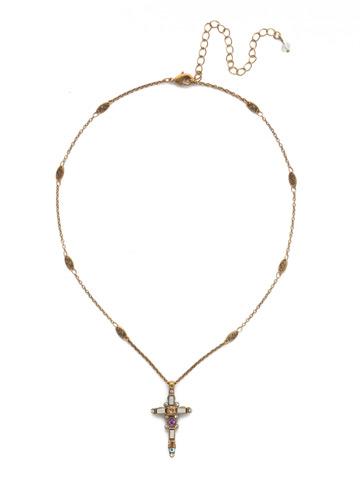 Delicate Sliding Cross Pendant Necklace in Antique Gold-tone Rocky Beach